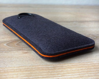 S7 ANTHRACITE / ORANGE · Cell phone case for Samsung Galaxy S7 with pull tab sleeve case made of wool felt