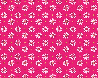 Fabric - Daisy Hot Pink, Cotton Fabric, Fabric by the Yard, Quilting Fabric, Fat Quarter, Pink Fabric, Daisy Fabric, Lemon Squeezy