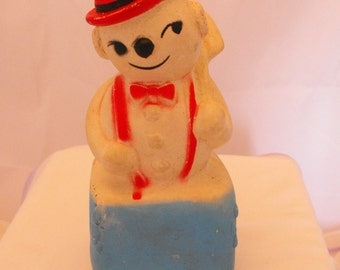 Vintage Rubber Snowman Sitting on a Block of Ice with Squeaker    (439)