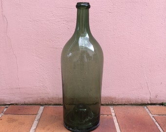 Old French Green Glass wine bottle