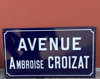 Old French Street Enameled Sign Plaque - vintage croizat 3