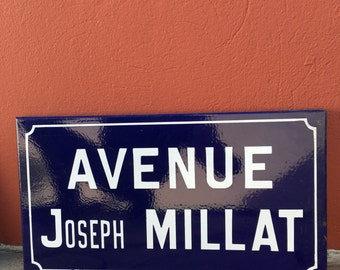 Old French Street Enameled Sign Plaque - vintage millat 3