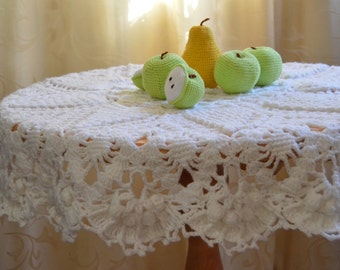 Crochet Doily White,White tablecloth,Round Lace Doily, Tablecloth round table decoration living room