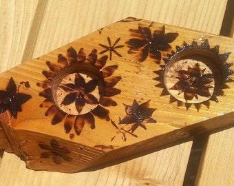 Reclaimed wood Ring jewelry holder dish handmade