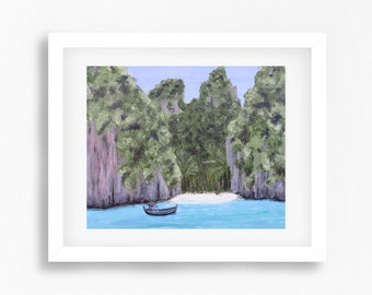 Phi Phi Island Thailand Art Print, Beach Artwork Print, Beach Painting Print, Beach Decor, Beach Print, Beach Wall Art, Thailand Beach Art