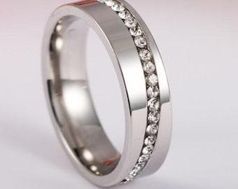 Stainless Steel Titanium Ring With Rhinestones