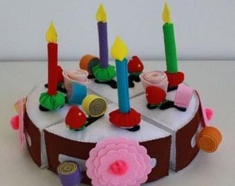 Felt Sensory Toy Felt Cake Develop Motility Attention Play Food  Colors Felt toy with Felt Food biscuit Felt Food Felt Cake Fake cake