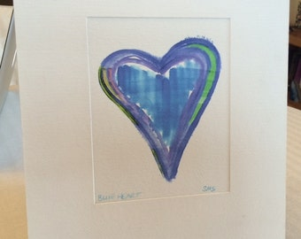 Blue Heart matted print
