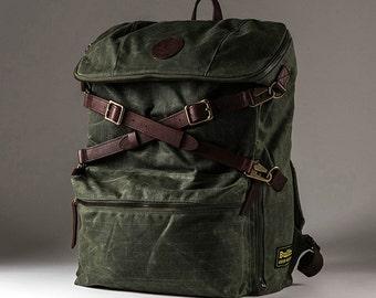 Builford Explorer Rucksack (Olive Grid) Backpack (Dark Oak) Men Women Waxed Canvas School Laptop Camping
