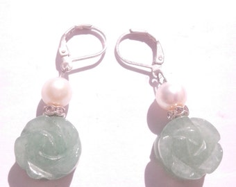 Pearly original earrings green jade - original earrings pearly green jade earrings