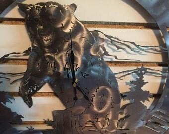Bear in sawblade clock