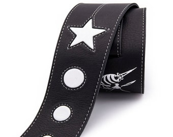 Leather guitar strap, black and white guitar strap, Star instrument strap - the COSMONAUT