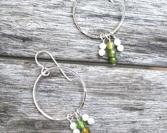 hoop earrings with dyed quartz faceted beads