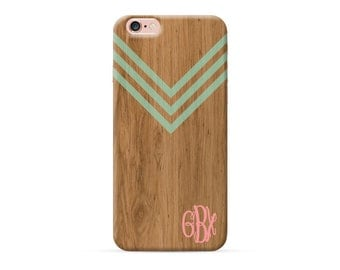 faux wood iPhone 7 case chevron pattern iPhone 7 plus case monogram iPhone 6 6s plus case custom monogrammed iphone SE 5 5S 5C casee