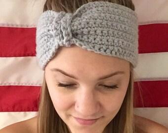 Crochet Gray Headband