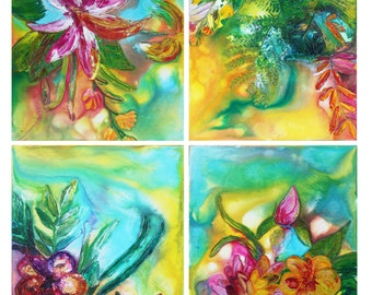 "Tropical Wall Art Original Texture Acrylic Ink Set of 4 Canvas Art ""TROPICAL BLOOM"""