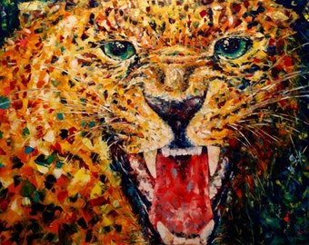 Leopard Painting Canvas Large Animal Painting Canvas Large Painting Palette Knife Wall Art Canvas Abstract Painting Original Oil Painting