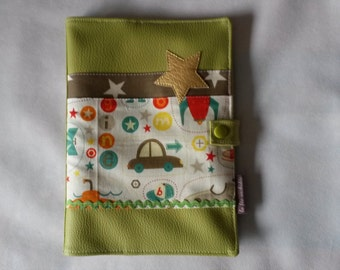 Protects-synopsis of health for boy with Riley Blake fabric and leather