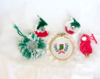 Set of 5 Vintage Christmas Ornaments, Vintage Christmas Ornaments, Christmas Decorations, Vintage Christmas Decor, 70's Handmade Ornaments