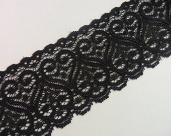 3m black elastic lace 6cm wide