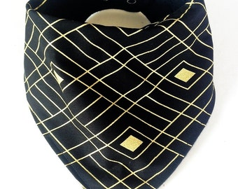 Black and Gold Diamond Bandana Bib
