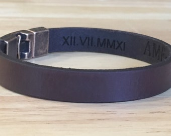 FREE SHIPPING-Men's Leather Bracelet,Engraved Leather Bracelet,Men's Bracelet,Leather Bracelet,Personalized Leather Bracelet,Custom Bracelet