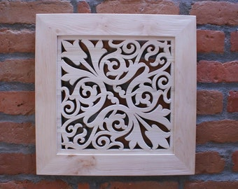Wooden Lace Picture in a Wooden Frame- Tulip Ornament-Home Decor-Wall Hanging