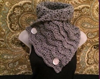 Crocheted Heather Grey Scarf