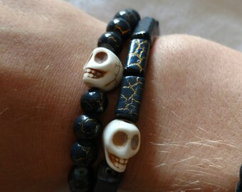 Black and Gold Skull Bracelets