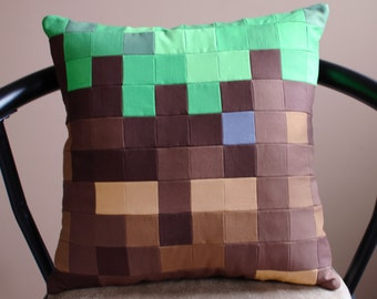 Minecraft Inspired Grass Block Quilted Throw Pillow