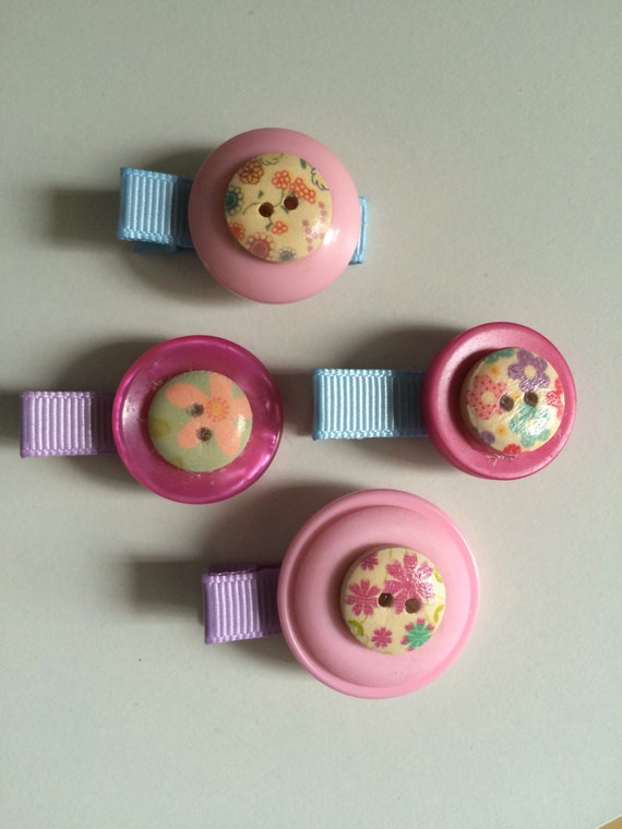Pink Button Hair Clips - Set of Four