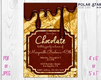 Chocolate - 30th 40th 50th Custom Milestone Birthday Invitation - Printable Digital File (089)