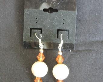 Amber/Pearl Earrings