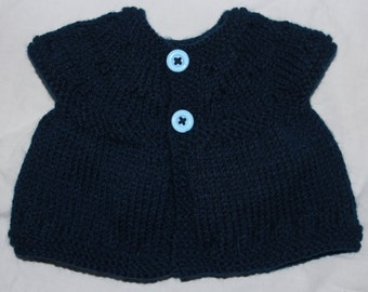 Handmade Knitted Newborn Baby Top with Lace Detailing