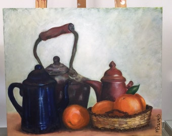"Oil Painting On Canvas Oranges & Tea Pots By Miri Baruch, Size: 19.6 "" x 23.6"" (50 cm x 60 cm)"