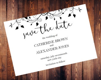 SALE 40% OFF • Editable Save the Date Cards • Printable Template • Flower Border Save the Date • Digital Download • DIY Save The Date