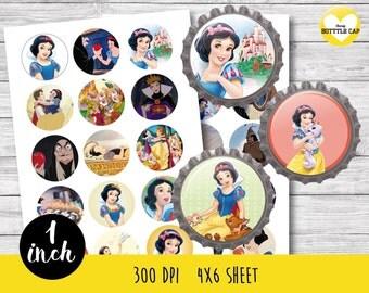 50% OFF SALE 30 Snow White Bottlecap-Snow White 1 inch Bottlecap-Printable Image Downlod-Disney bottle cap-Snow White bottle cap-COD10