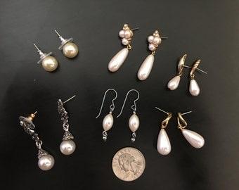 Pearl Earrings lot- 6 pairs