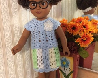 """Crocheted 18"""" & AG- Lucy 2 pc. Stripe W/ Headband-Shoes"""