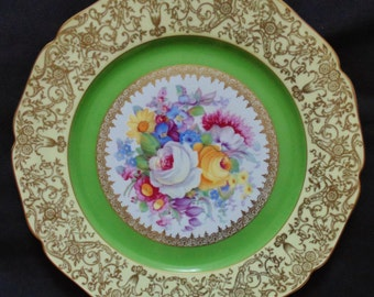8 vintage Bohemia Gold-filigree and green plates, made in Czechoslovakia for Macy's