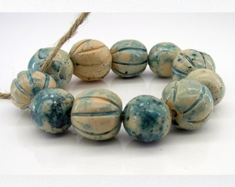 SAlE! Ceramic Beads, Clay Beads, Round Beads, Jewelry Beads, Turquoise Beads, Pottery Beads, Nautical Beads