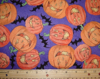 Halloween Pumpkins and Bats with Purple Background Fabric From Springs Creative