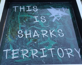 Classic San Jose Sharks logo territory sign in multi-layer epoxy resin