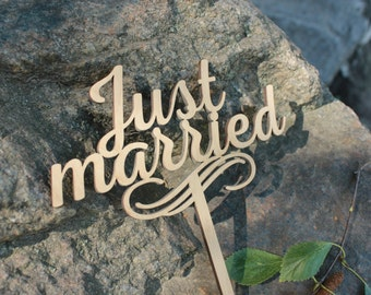 Just Married Cake Topper Wedding Cake Topper Wooden Cake Topper Just Married Wooden Cake Topper Cake Topper Unique Wood Cake Toppers