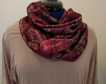 Maroon and Cream Paisley - Infinity Scarf