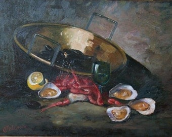 Still life Painting, Oyster Painting, Still Life with Oysters, Original still life Oil Painting, Oyster on canvas, 12x16 inches (30x40 cm)