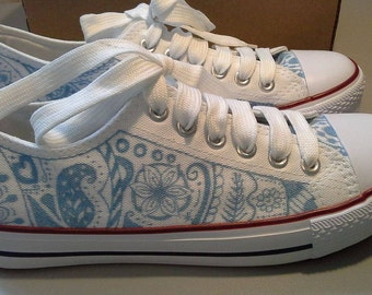 Hand designed zentangle canvas sneakers