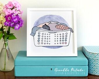The cat on a laundry basket, 8x8 art print