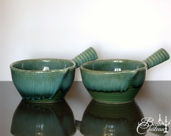 Two hand made ceramic soup bowls with handles from St Clement, France. Green Blue Deep Textured Glaze