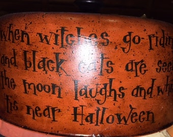 Vintage Old Dome Cake Cover Hand Painted Halloween Witch Black Cat Witches Witch